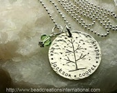 Tree of Life with Four Names Hand Stamped Necklace with a Hammered Look