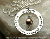 Personalized Hand Stamped Necklace with 4 Names and Extra Large Dangle