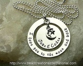 Custom order for Tiffany NEW DESIGN I Love You To The Moon and Back with 2 Names and Charm Hand Stamped Necklace