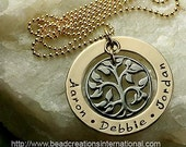 Our Family Tree of Three in Gold and Black Hand Stamped Necklace