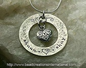 NEW Design Personalized Sterling Silver Hand Stamped Necklace with 2 Names Hammered & Tarnished Look and a Thicker Washer