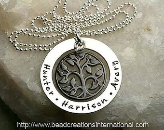 Our Family Tree of Three in Silver and Black Hand Stamped Necklace