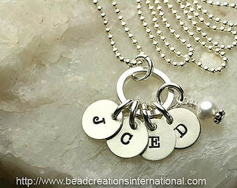 Four Tiny Initials Hand Stamped Necklace