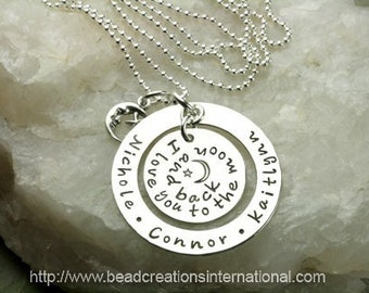 Hand Stamped Necklace - Floating I Love You To The Moon and Back with 3 Names - Sterling Silver Mommy Necklace