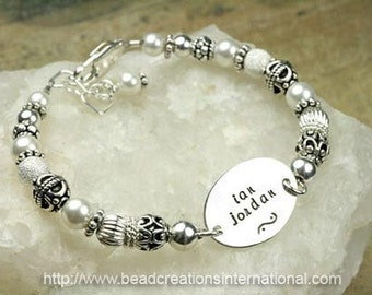Two Names on a Hand Stamped Bracelet with Sterling Silver Beads and Pearls