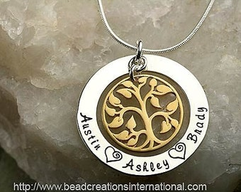 Our Family Tree of Three in Silver and Gold Hand Stamped Necklace