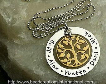 Hand Stamped Necklace - Our Family Tree with Five Names - Sterling Silver and Gold Plated over Sterling Silver Tree Charm