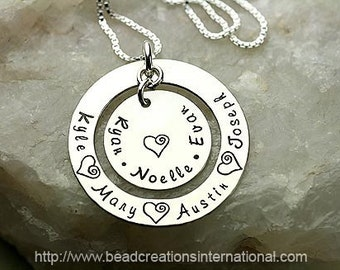 Personalized Hand Stamped Necklace with Seven Names for a Mother or Grandma