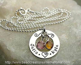 Personalized Hand Stamped Necklace with 2 Names and Two Round Crystals