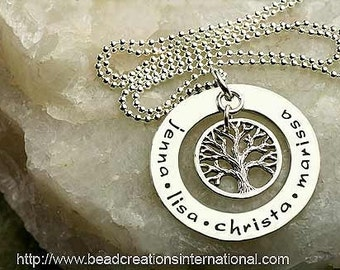 NEW DESIGN Family Tree of Four with Smaller Tree Hand Stamped Necklace