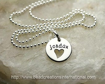 Sterling Silver Disc with Heart Cut Out Personalized Hand Stamped Necklace