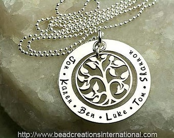 Our Family Tree of Six Hand Stamped Necklace