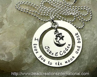 NEW DESIGN I Love You To The Moon and Back with 2 Names and Charm Hand Stamped Necklace