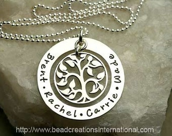 Our Family Tree of Four Hand Stamped Necklace