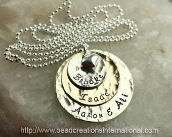 Personalized Gold Filled and Sterling Silver Discs with 4 Names  Hand Stamped Necklace