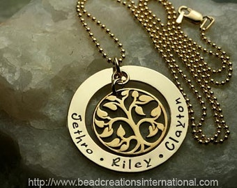 Gold Filled Hand Stamped Necklace - Our Gold Family Tree of Three in Gold Filled and Bronze Tree - Hand Stamped Necklace in Gold Filled