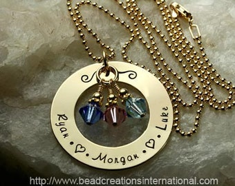 Gold Filled Personalized Hand Stamped Necklace with 3 Names and 3 Crystal or Pearls