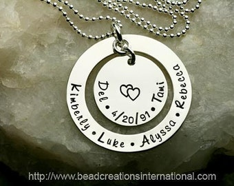 NEW Design Family of Six Hand Stamped Necklace