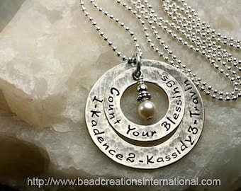NEW Design - Count Your Blessings with Three Names on Two Washers Stacked Personalized Hand Stamped Necklace