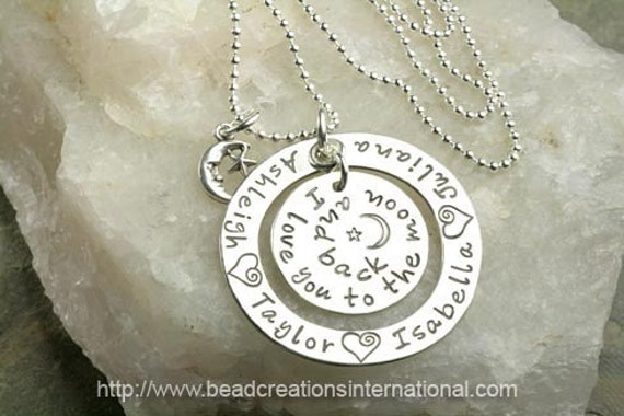 Floating I Love You To The Moon and Back with 4 Names Hand Stamped Necklace