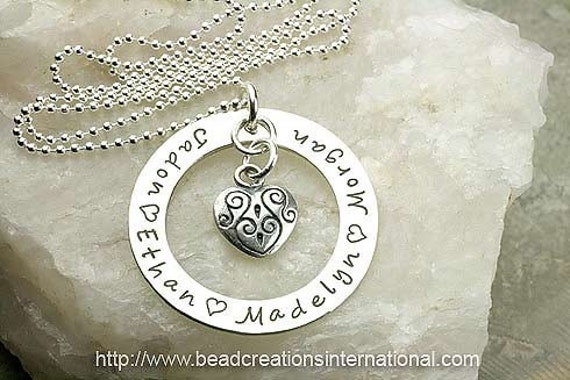 Personalized Sterling Silver Hand Stamped Necklace with 4 Names and a Decorative Heart Charm