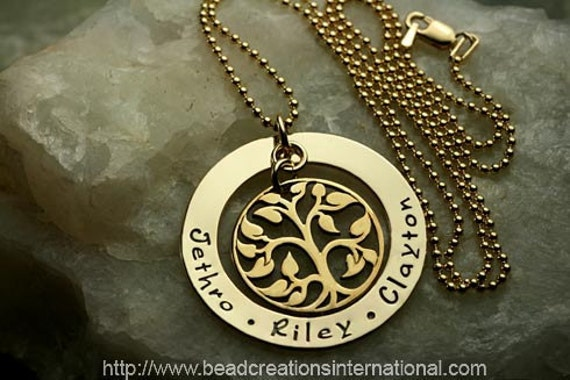 """Our Gold Family Tree of Three in Gold Filled and Bronze Tree"""" Hand Stamped Necklace"""