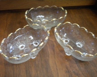SALE Set of 3 Jeannette Glass Floragold Candy Bowls