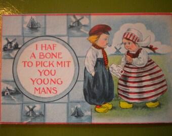 SALE Antique Postcard, I haf a bone to pick mit you young mans, 1910s