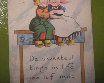 Edwardian Postcard, De shveetest tings in life iss luf undt a goot girl