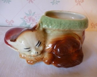 Vintage American Bisque Sleeping Kitten With Shoe Planter