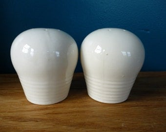 Vintage Off White Ceramic Salt and Pepper Shakers