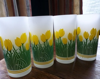 Set of 4 Pasinski  Washington Frosted Yellow Tulip Tumblers