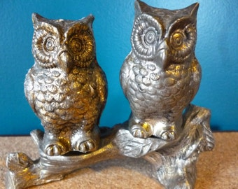 SALE Vintage Metal Owls on a Branch Salt and Pepper Shakers