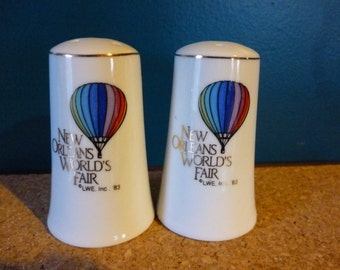 Vintage 1983 New Orleans World's Fair Salt and Pepper Shakers, Souvenir