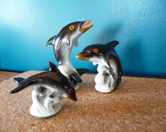 Trio of Vintage Ceramic Dolphins