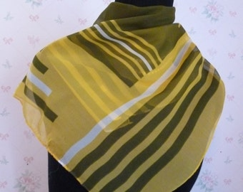 SALE Vintage Geometric Yellow and Green Scarf