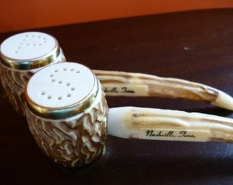 Vintage Corn Cob Pipe Salt and Pepper Shakers, Souvenir of Nashville, Tennessee