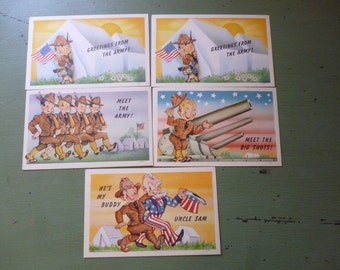SALE Set of 5 WWII Linen Finish Cute Army Postcards, Unused