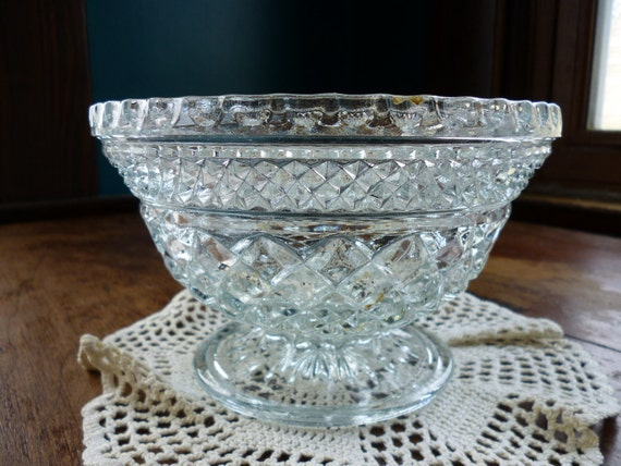 Anchor Hocking Wexford Ware Pressed Glass Footed Bowl