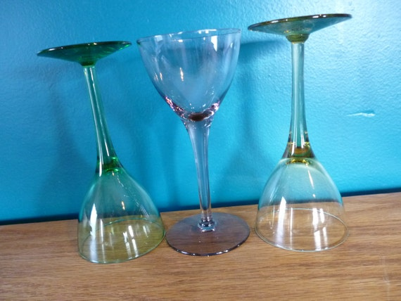 SALE Set of 3 Rainbow Colored Goblets