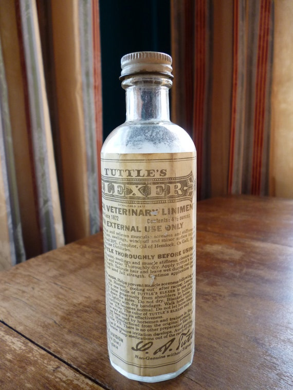Treasury Item - Vintage 1960s Bottle, Tuttle's Elexer, Special Veterinary Liniment