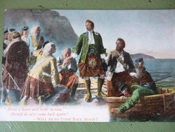 Treasury Item - Antique British Postcard, Scottish, Will Ye No Come Back Again