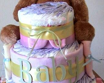 Girl baby shower diaper cake, shower centerpiece, girl baby diaper cakes