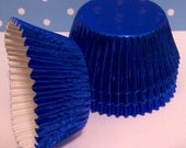 Blue Foil Cupcake Liners- Choose Set of 50 or 100