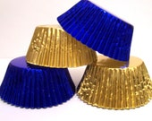 60 Mix of Gold and Blue Foil Standard Size Cupcake Liners