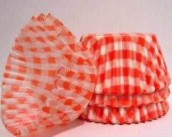 Orange Gingham Cupcake Liners- Choose Set of 50 or 100