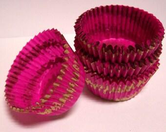 50 Pink Danish Gold Swirl Cupcake Liners