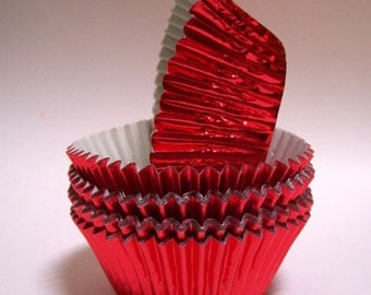 MINI Red Foil Baking Cups- Candy Liners- Choose Set of 50 or 100