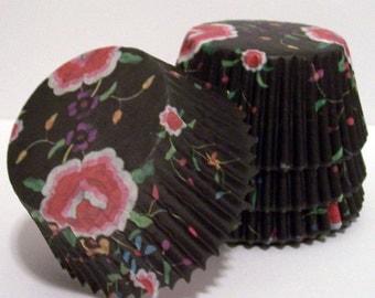Oriental Floral Cupcake Liners- Choose Set of 50 or 100