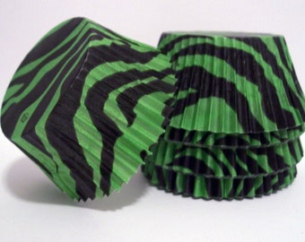 Green and Black Zebra Striped Cupcake Liners- Choose Set of 50 or 100